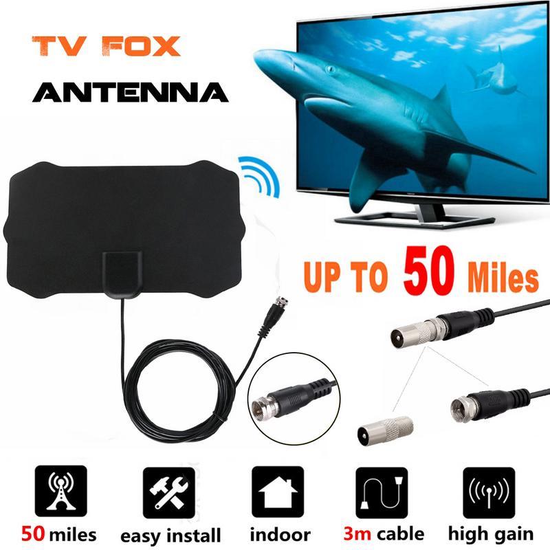 Flat Indoor HD Signal Amplifier Digital TV Antenna HDTV 50 Miles Range VHF UHF