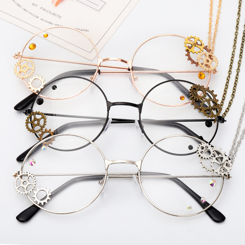 Round Steampunk Glasses Frame Women Lolita Gears Chain Decoration Style Ladies Retro Clear Lens Spectacle Frames Gold Eyewear