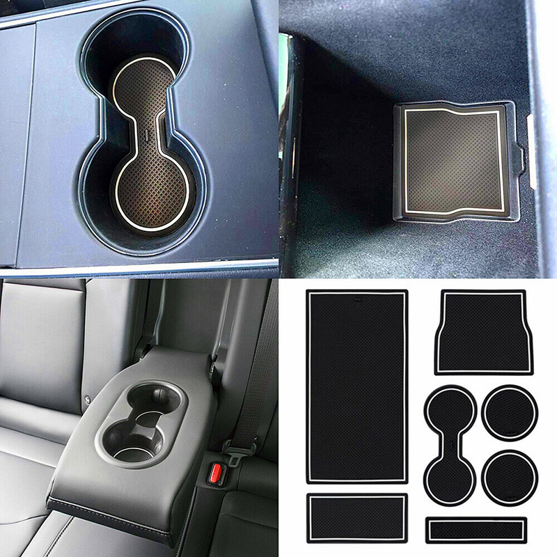 Para Tesla Model 3 accesorios para la consola del coche Wrap Mat antideslizante ranura de la puerta Centro cojinete portavasos de protección Blanco/rojo/azul a prueba de suciedad