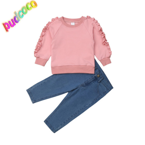 Kids Toddler Baby Girl Top T-shirt+Long Jeans Denim Pants 2PCS Outfits Clothes T
