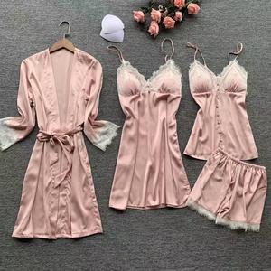 Image 5 - Lisacmvpnel 4 個セクシーなレースの女性ローブセットカーディガン + 寝間着 + ショーツセットファッションパジャマ