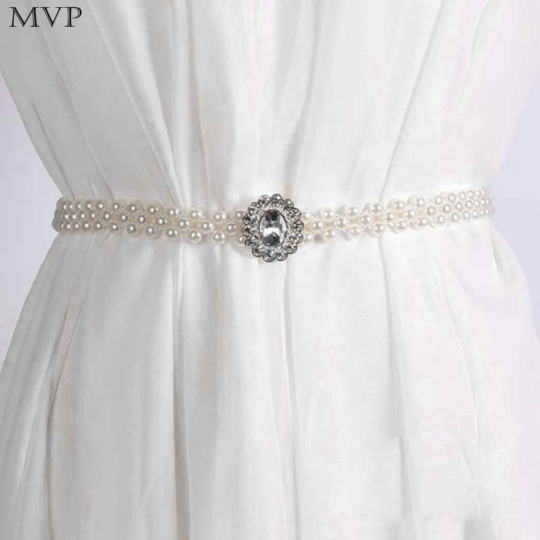 新ファッション女性ガールズ弾性人工 65 センチメートル/25.6 インチパールホワイト 2 センチメートル/0.8 インチ宝石装飾ウエストベルト