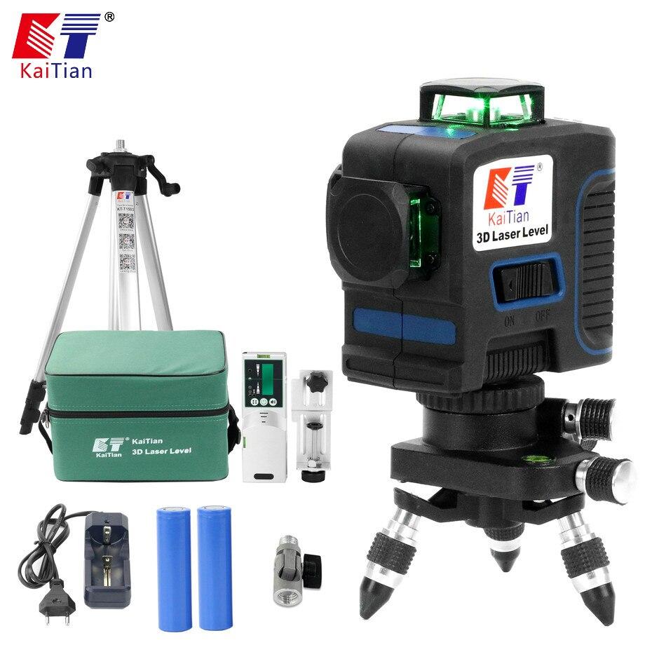 Kaitian 3D Vert Laser Niveau Trépied avec Récepteur 12 Lignes Nivel Laser 360 Rotatif Lazer Niveau Outils