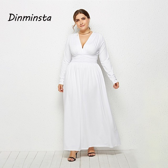 US $37.66 |Dinminsta Spring Women Plus Size Long Maxi Dress Female V Neck  Full Sleeve Elastic High Waist Frocks Design 3XL Casual Dresses-in Dresses  ...