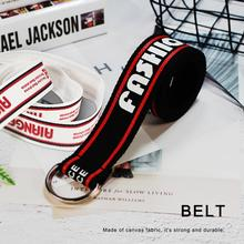 Belt for Women Fashion Letter Printing Canvas Punk Straps with Metal Buckle Jeans Skirt Belts buckle straps flap canvas backpack