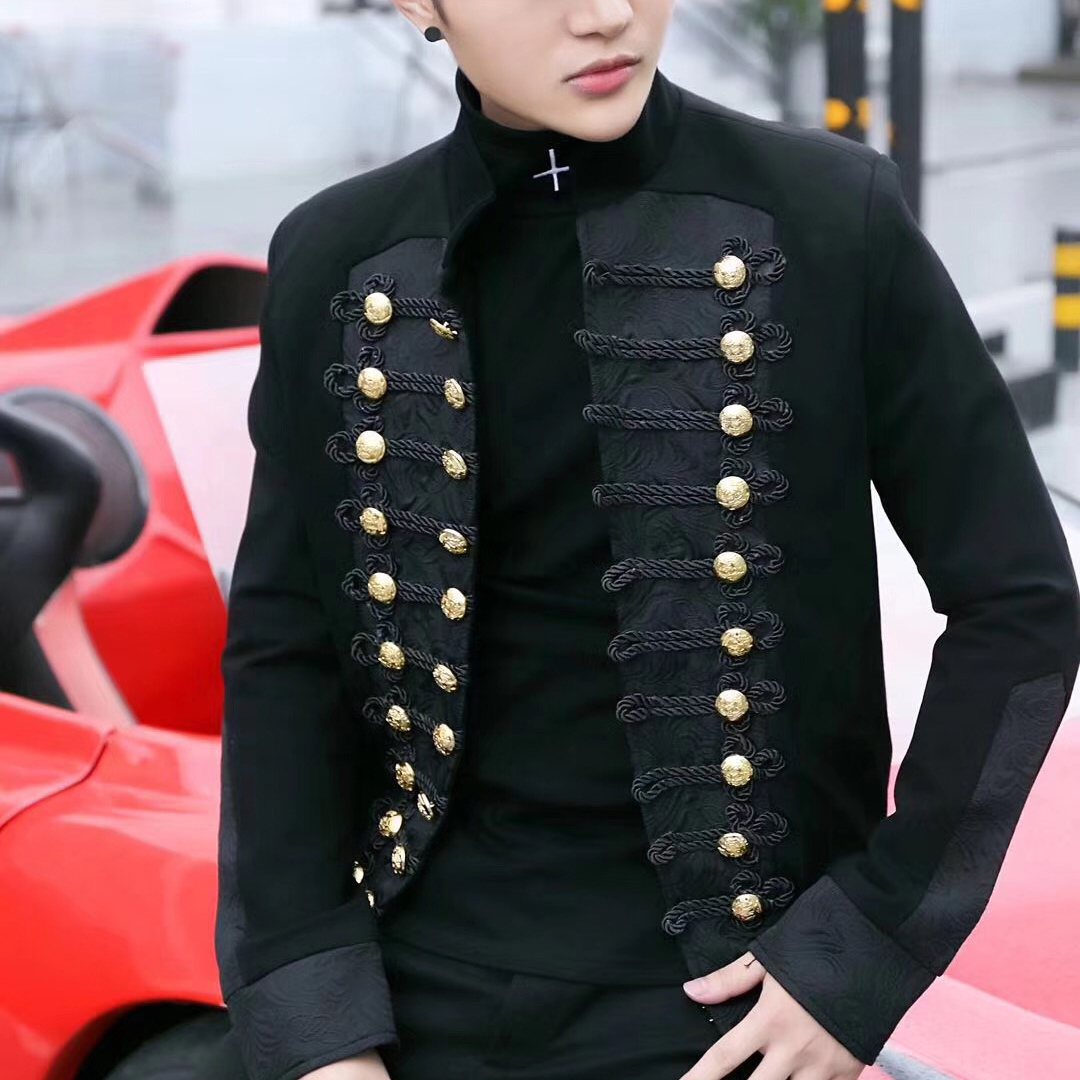 Jacket Court Singer Hairstyle Division Mans Suit Loose Coat Blazer Hombre Show Tide Male Nightclub Leisure Time Self-cultivation