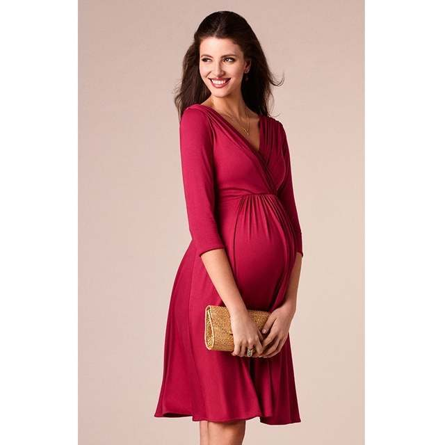 Maternity Christmas Dress.Us 13 12 35 Off Enxi Christmas Pregnant Women Evening Party Dress Elegant Summer Lady Dress Maternity Clothes Plus Size V Neck Maternity Dresses In