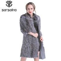 SARSALLYA New winter Women Real Silver Fox Fur Coats Fashion Fur Jacket Striped Style Overcoat Women Fox Fur Outerwear Clothes