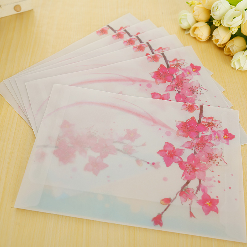 10 Pcs/lot Peach Blossom Envelope Postcards Greeting Card Cover Parchment Paper Envelopes Stationery School Supplies