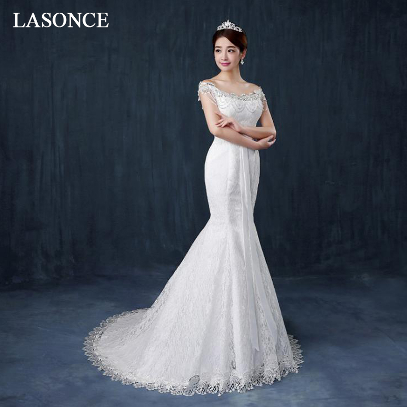 LASONCE Beading Scoop Neck Bow Sash Mermaid Wedding Dresses Lace Appliques Short Sleeve Sweep Train Bridal Gowns