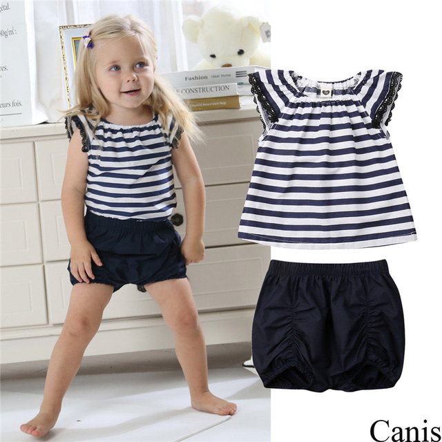 fa1f086d5 2Pcs Newborn Kids Baby Girl Clothes Set Summer Striped Short Sleeve Lace  Tops T-shirt Shorts Pants Outfit Girls Clothing Set