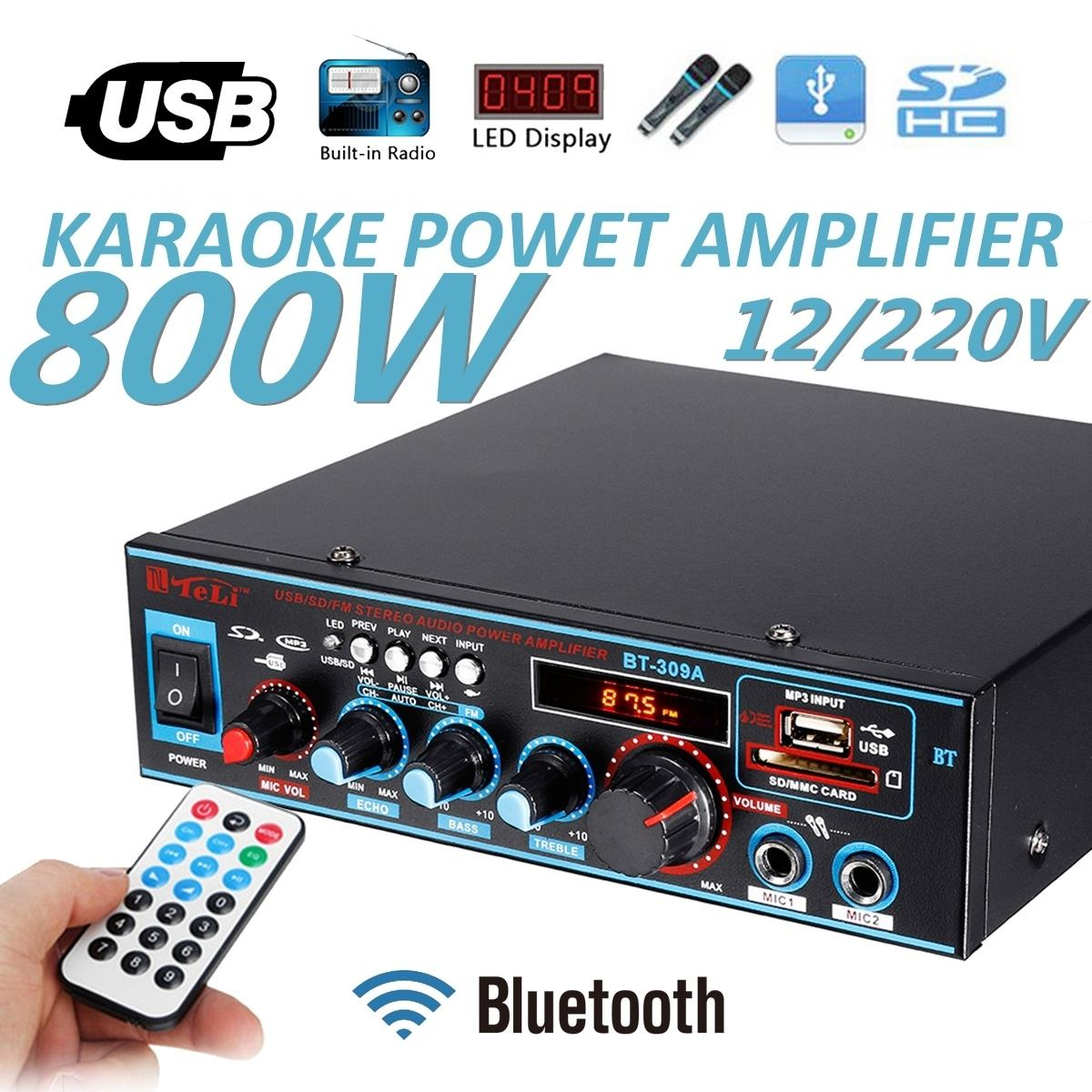 12/220V 800W 2CH Equalizer Amplifier Audio bluetooth Stereo Power Amplifier Home Theater Amplifiers HIFI FM USB SD Cards