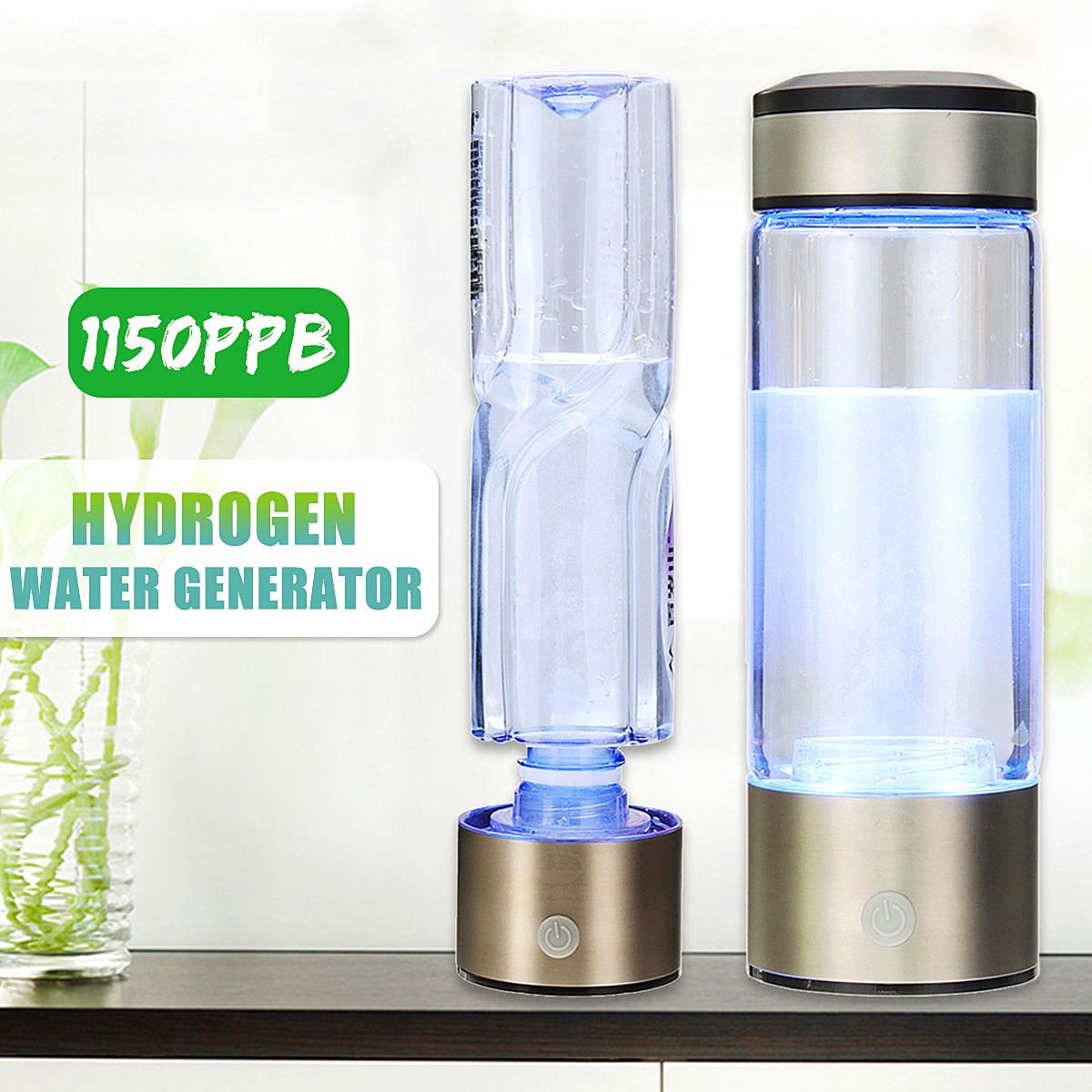 Portable Hydrogen-Rich Water Bottle Alkaline lonizer Hydrogen-Water Generator Maker Rechargeable Water Bottle 380ML Anti-Aging
