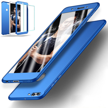 Water Resistant Phone Case For Huawei  Y7 Prime Y9 2018 360 Degrees Full Cover Hybrid Case Tempered Glass For Huawei Y5 Y6 2018 360 degrees