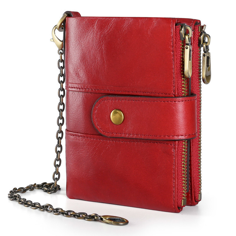 New Genuine Leather Women Wallets Small Chain Female Purses Hasp Coin Pocket High Quality Women Leather Purses Purse For Ladies