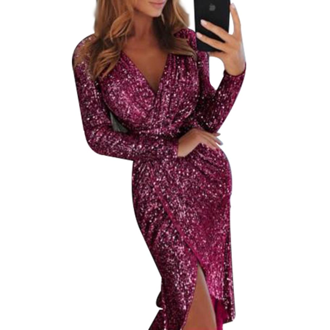 Женские платья вечерняя Клубная сексуальная одежда v-образный вырез с высоким разрезом освещение блестящее облегающее платье с длинным рук...