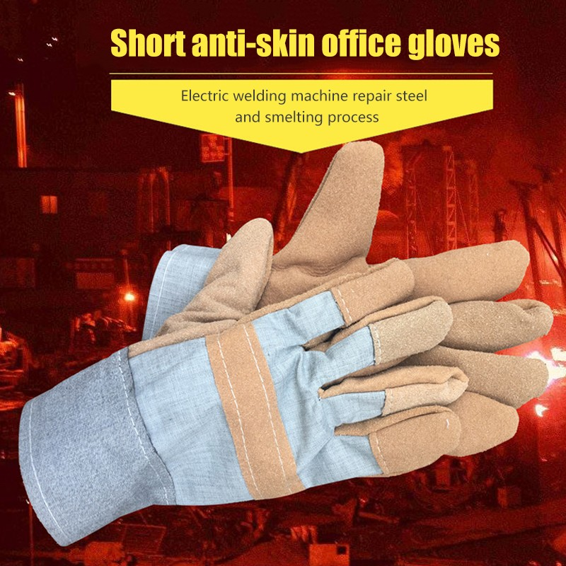 Two-layer Short Electric Welding Gloves Welder Protective Short Leather Welding Gloves Short Faux Leather Welding