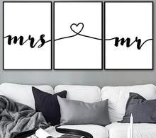 3 Pieces Mr Mrs Love Prints Wedding Sign Wall Art Canvas Painting Nordic Posters And Pictures For Living Room