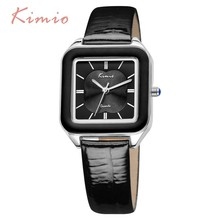 KIMIO Luxury Brand Summer Fashion Bright Color Square Dial Women's Watches Genuine Leather Watches Women Wrist Watch For Women цена 2017