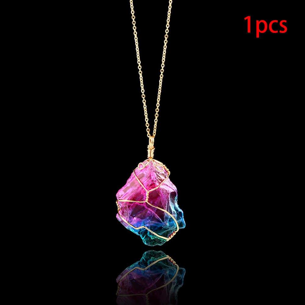 Nastrój zmieniający naszyjnik z kamienia nieregularny naturalny kryształ Chakra Rock kolorowy kamień kwarcowy naszyjnik naszyjnik