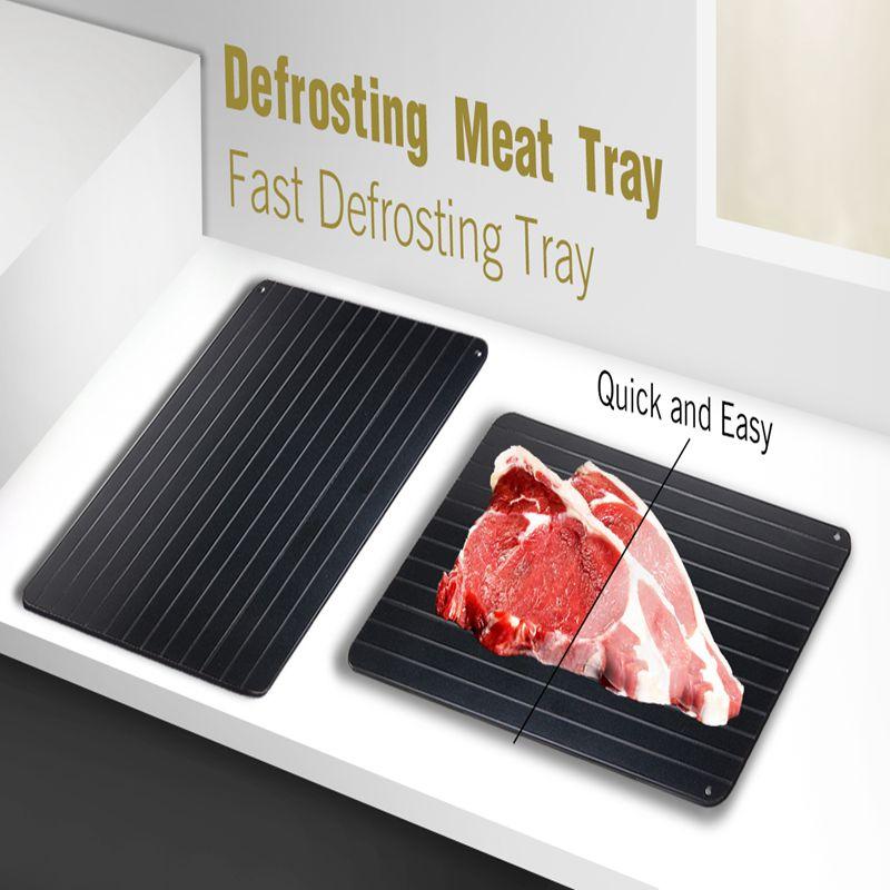 35,5*20,5*0,2 cm rápidamente seguridad descongelar carne bandeja rápida descongelación bandeja para alimentos congelados de cortar de cocina negro herramienta