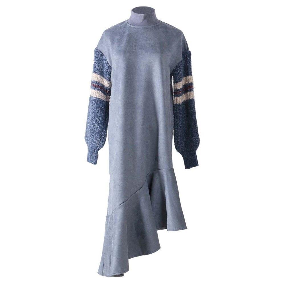 Hiver Volants Femmes Robe Patchwork Nouveau Apricot Lâche Vêtements Automne Grande Pour Vgh En blue Asymétrie Robes De Taille yellow Tricoté Mode Femelle Daim 5qEAtS