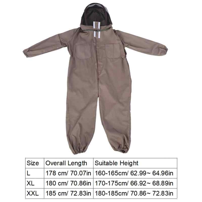 Lightweight Cotton Apiarist Beekeeping Suit Coffee L/XL/XXL Sizes Smooth Zipper Hooded-veil Protective beekeeping suit