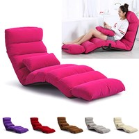 3 Folding Lazy Sofa Chair Lounger Seat Bean Bag Tatami Sleeping Relaxing Portable Couch Bed Lounge with Pillow Back Support