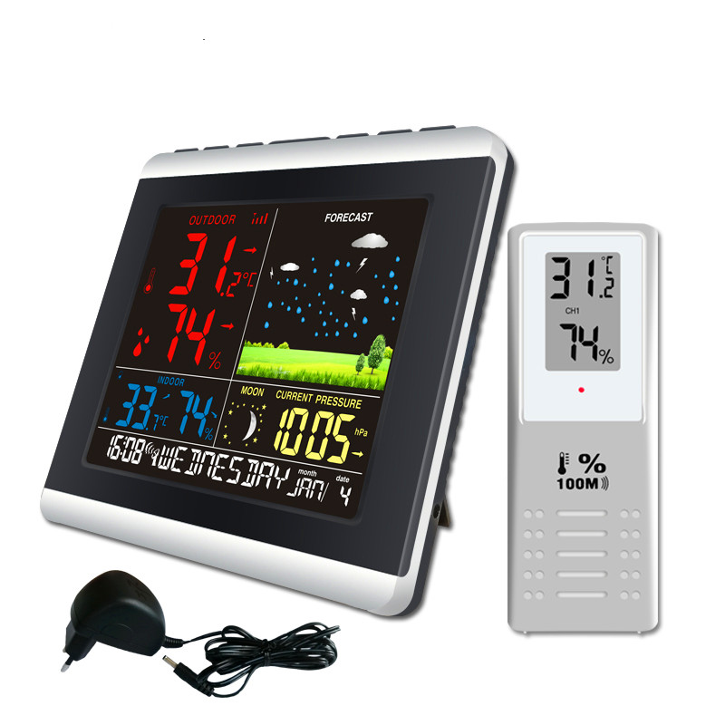 Wireless Weather Station EU US Plug Temperature Humidity Sensor Colorful LCD Display Weather Forecast Clock In