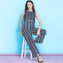 2019 Womens fashion casual chiffon jumpsuit summer contracted wave point striped ruffled women NW19B6092