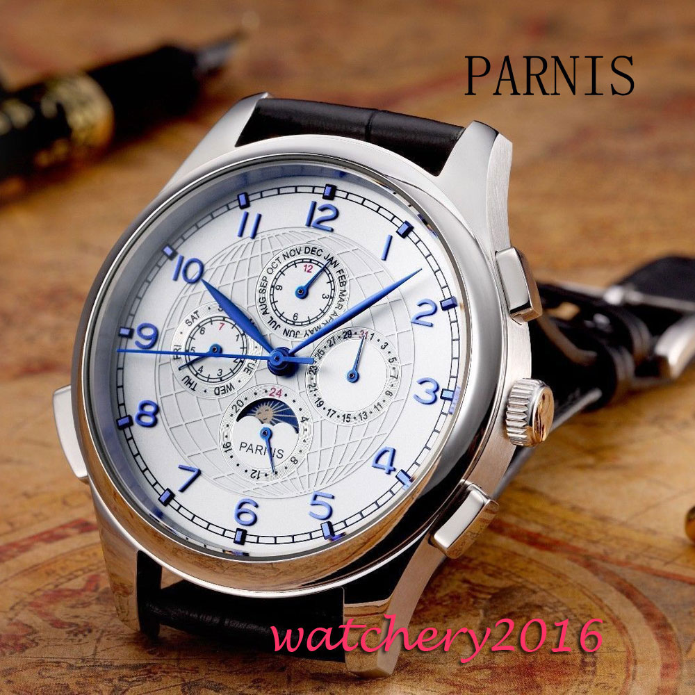 Moon phase Parnis 44mm Date Day White Dial Blue Markers Stainless steel case Automatic Movement Mens Mechanical WristwatchesMoon phase Parnis 44mm Date Day White Dial Blue Markers Stainless steel case Automatic Movement Mens Mechanical Wristwatches