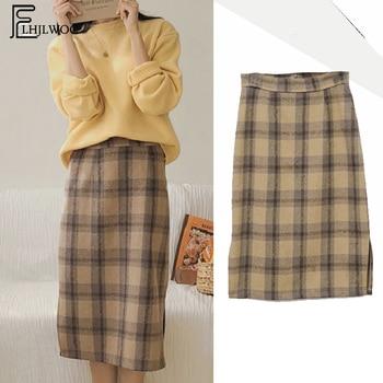 Dulce lindo faldas gran oferta de moda de las mujeres pijo Coreano estilo las niñas Plaid Vintage cintura alta falda partida 6811