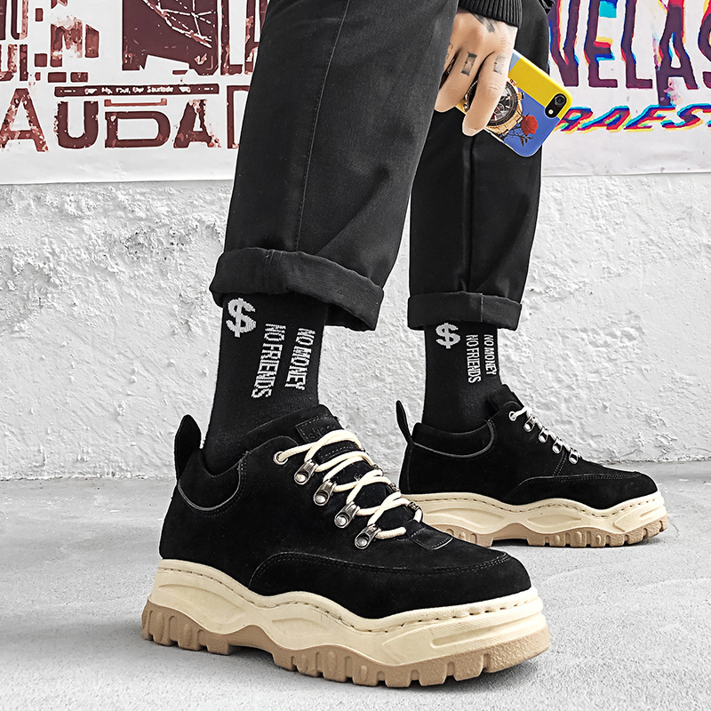 EXCARGO Casual Shoes Men Chunky Sneakers Platform 2019 New Summer male Sneakers  black autumn shoes