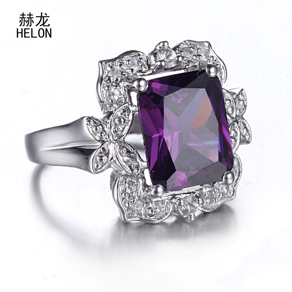 12X9mm Cushion Radiant 6.42ct Amethyst Ring 925 Sterling Silver Amethyst & White Sapphire Gemstone Engagement Wedding Ring Women