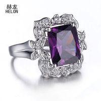 12X9mm Cushion Radiant 6.42ct Amethyst Ring 925 Sterling Silver Amethyst & White Sapphire Gemstone Engagement Wedding Ring Women