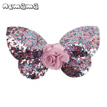 ncmama 2 Pcs/lot Glitter Butterfly Hair Bows Clips for Girls Kids Floral Sequin Barrettes Hairgrips Accessories