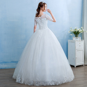 Image 2 - Gorgeous Wedding Dresses Crystal Lace Appliques Tulle O Neck Lace Up Ball Gown Formal Dresses For Wedding 2020 Vestido De Noiva