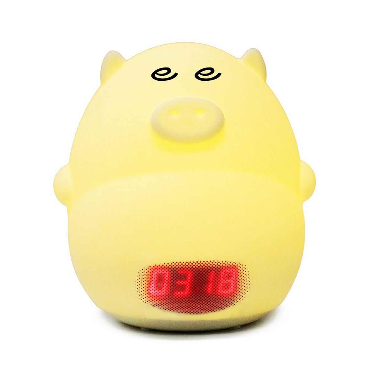 Night Light Alarm Clock for Kids Cute Pig Clock USB LED Lights Silicone Baby Lamp Color Changing 2 Alarms, 3 Sounds, 7 Colors,