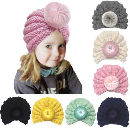 041763111a9 2019 Toddler Newborn Baby Girls Boys Hat Infant Knit Beanie Crochet Turban Ball  Cap Warm Winter