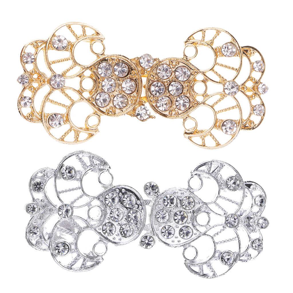 6dad800f51 fityle 1 Pair Rhinestone Crystal Bridal Wrap Closure Hook & Eye Clasp  Hollow Flower for Sweater Clothes Decoration