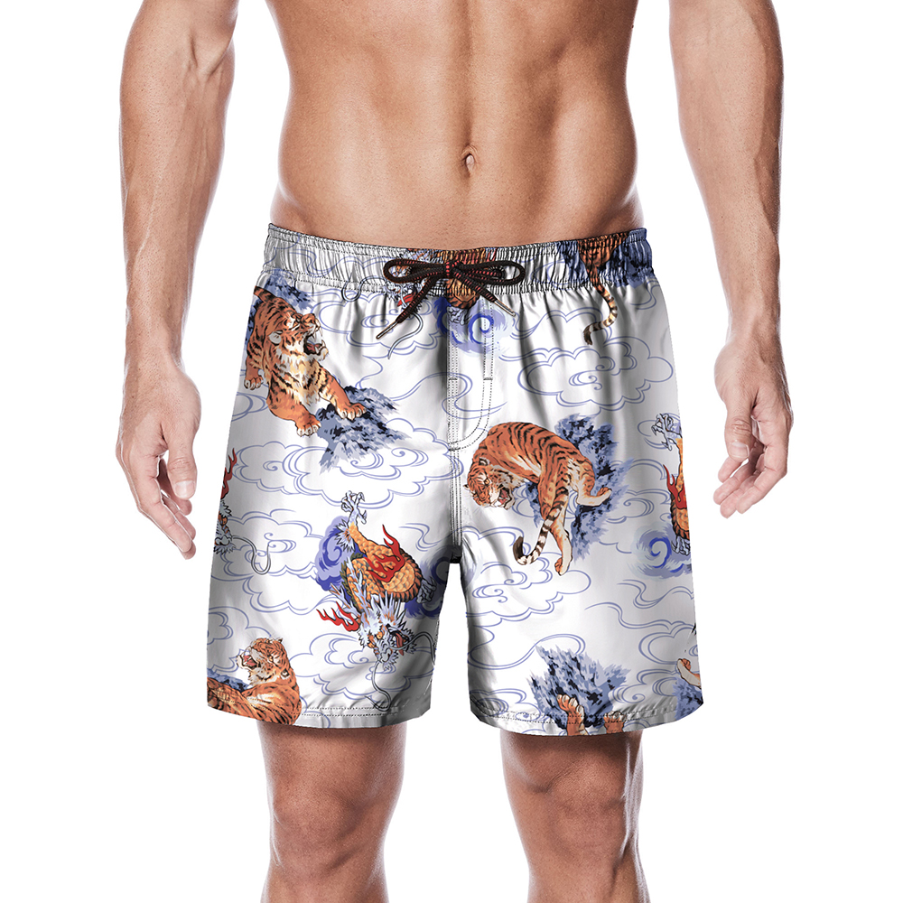 Polyester   Board     Shorts   Summer Men's Beach Surf Pants Quick Drying Swimwear Male Swim   Shorts   With Liner Swimming Trunks Plus Size