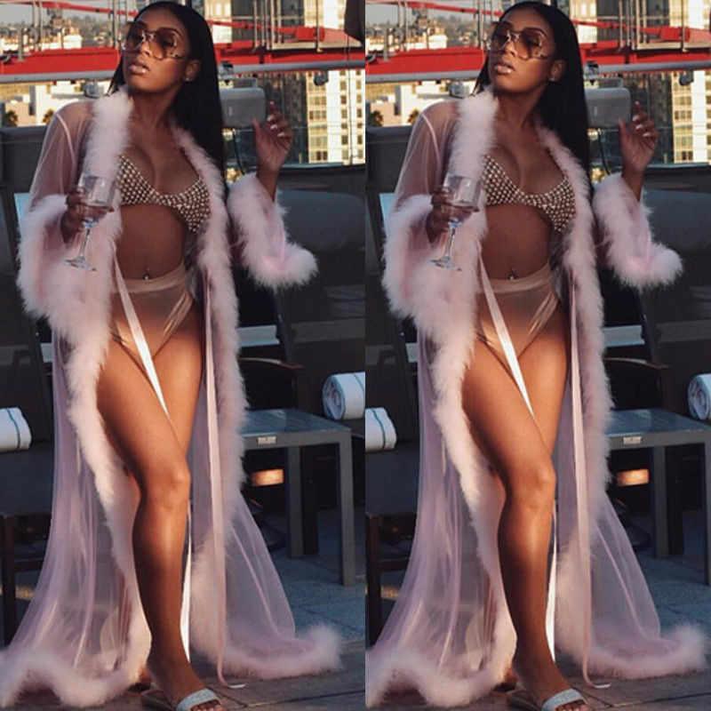 セクシーな女性ランジェリーロング入浴セットローブガウンナイトウェアパジャマレザーベルトカバーアップシースルービーチウェア水着