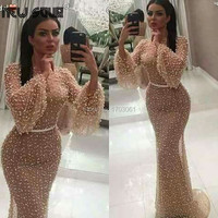 Champagne Pearls Formal Party Gowns Mermaid Evening Dresses Arabic Turkish Dubai Party Gown Vestido De Festa Prom Dress New 2019