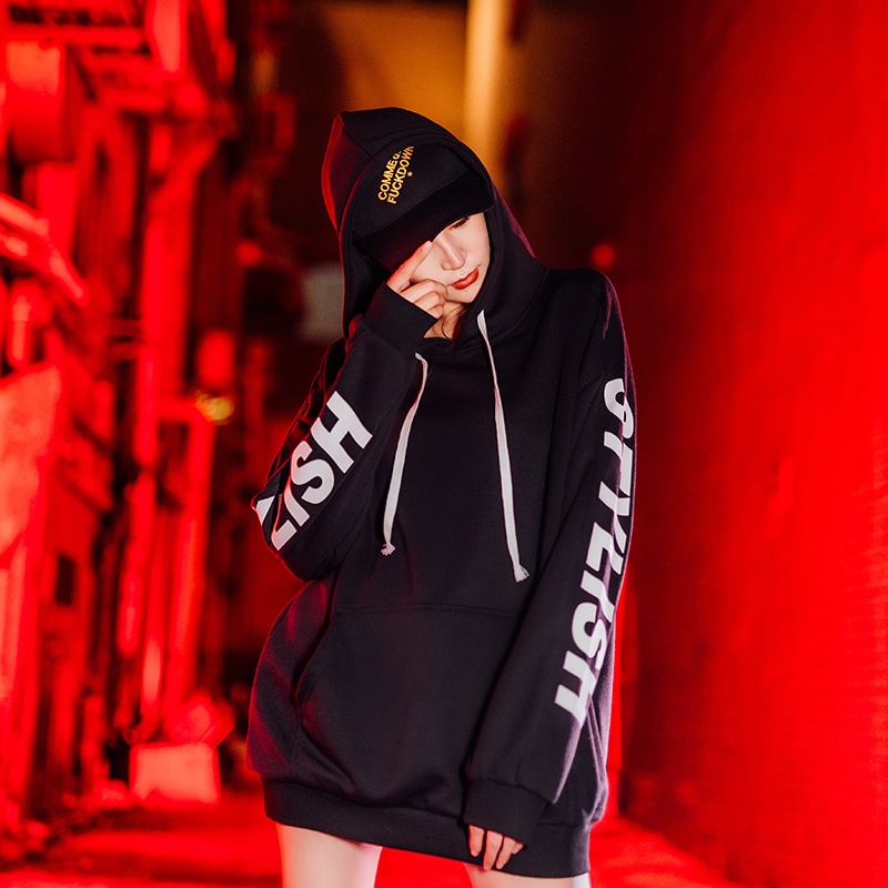 trend ins Korean version of the loose bf students 2019 new slimming hip hop black large size cec casual men 39 s shirt in Hoodies amp Sweatshirts from Men 39 s Clothing