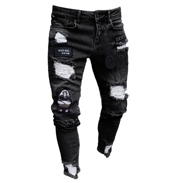 Men Stretchy Ripped Skinny Biker Embroidery Print Jeans  4