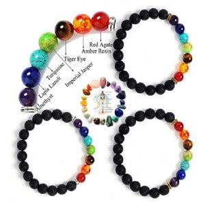 Image 5 - 7 Chakra Kralen Armband Mannen Natuurlijke Lava Stone Healing Balans Kralen Reiki Boeddha Gebed Yoga Diffuser Armband Vrouwen Sieraden