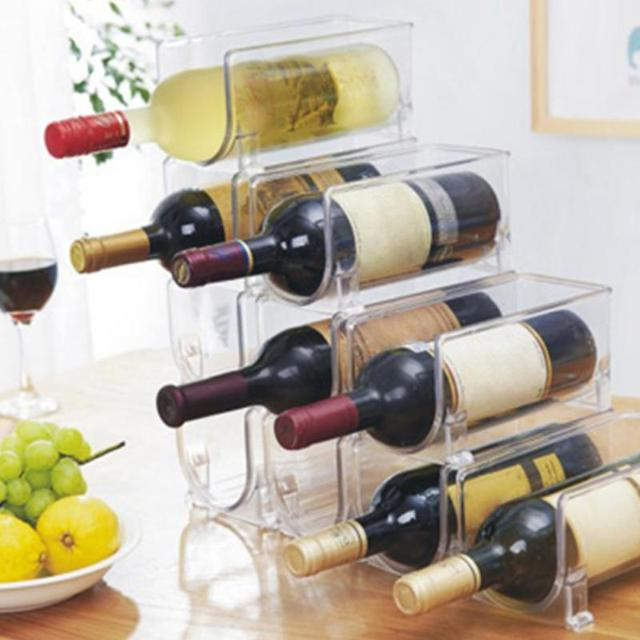 Transparent Wine Bottle Holders Pair