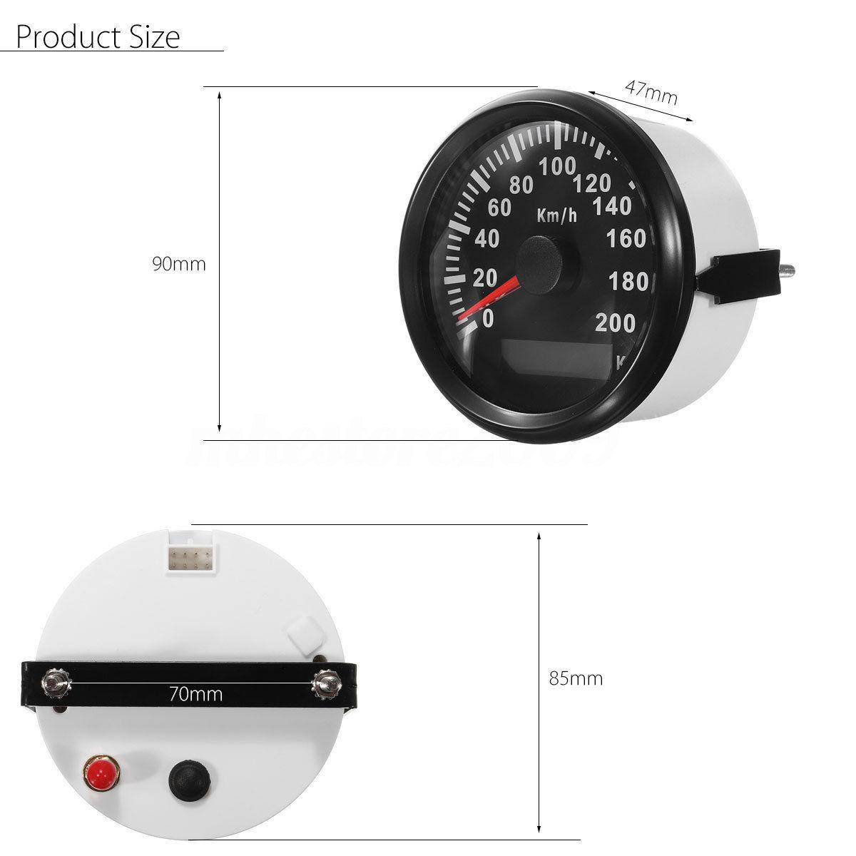 Jauges numériques imperméables automatiques de compteur de vitesse de Gps de moteur de voiture de 85Mm 200 Km/H - 3