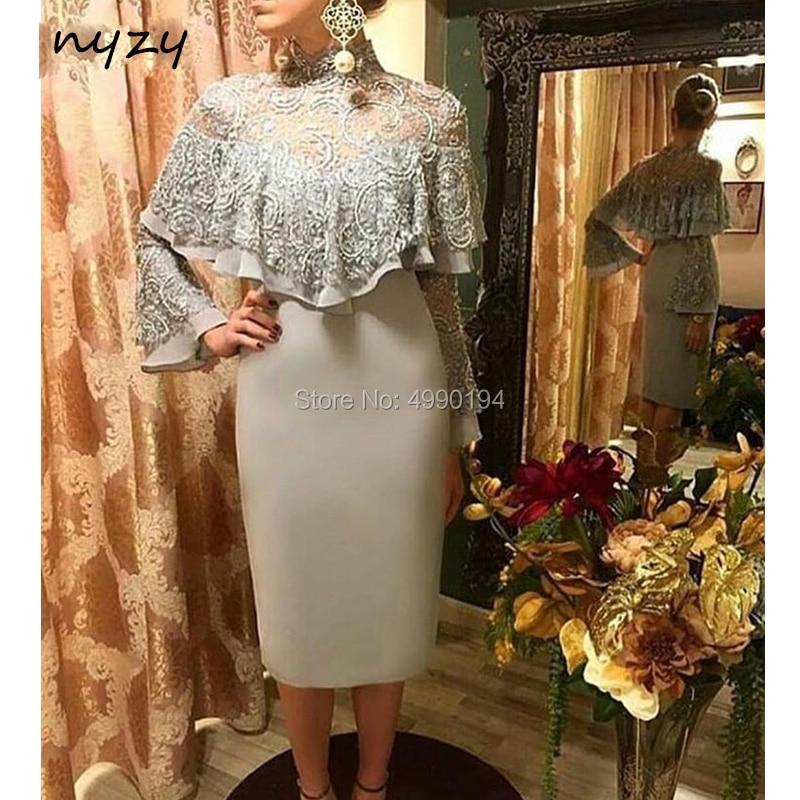 NYZY C25 Cocktail Dresses Cape Cloak Silver Grey Lace Satin Tea Length High Neck Long Sleeve Robe De Cocktail Longue Soiree 2019