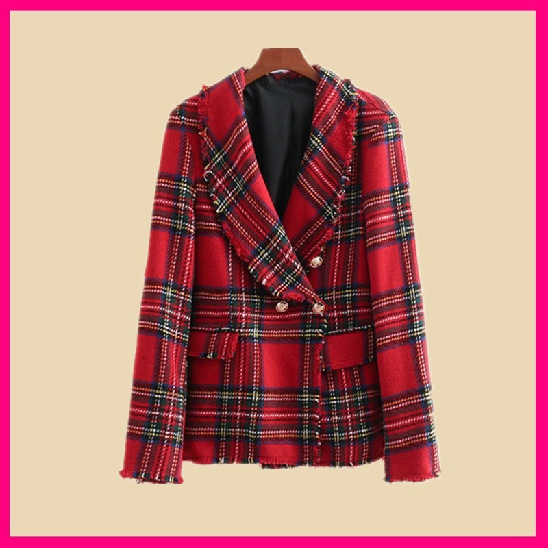 2018 Autumn Red Check Plaid Tassel Blazer Vintage Women Pockets Fringed Basic Coat Soft Woolen Slim Coat Outerwear